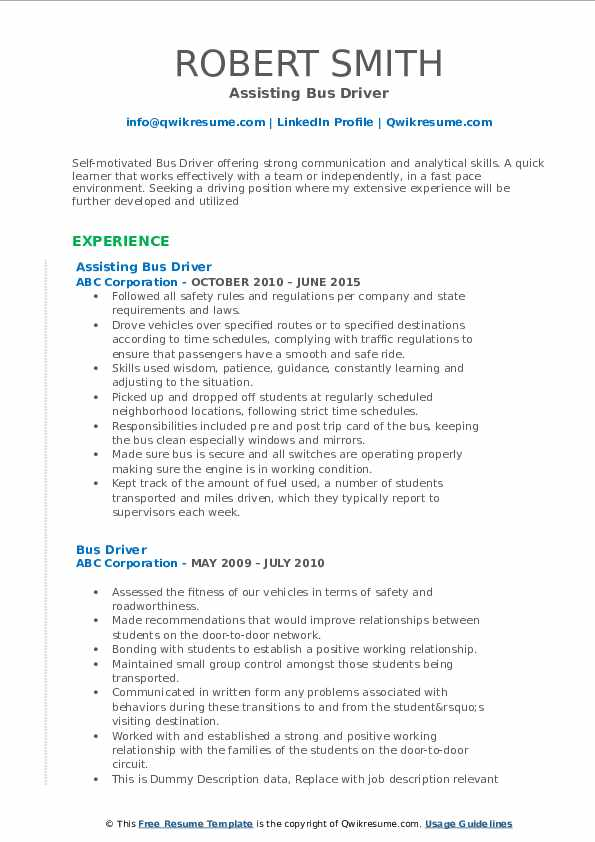 Assisting Bus Driver Resume .Docx (Word)