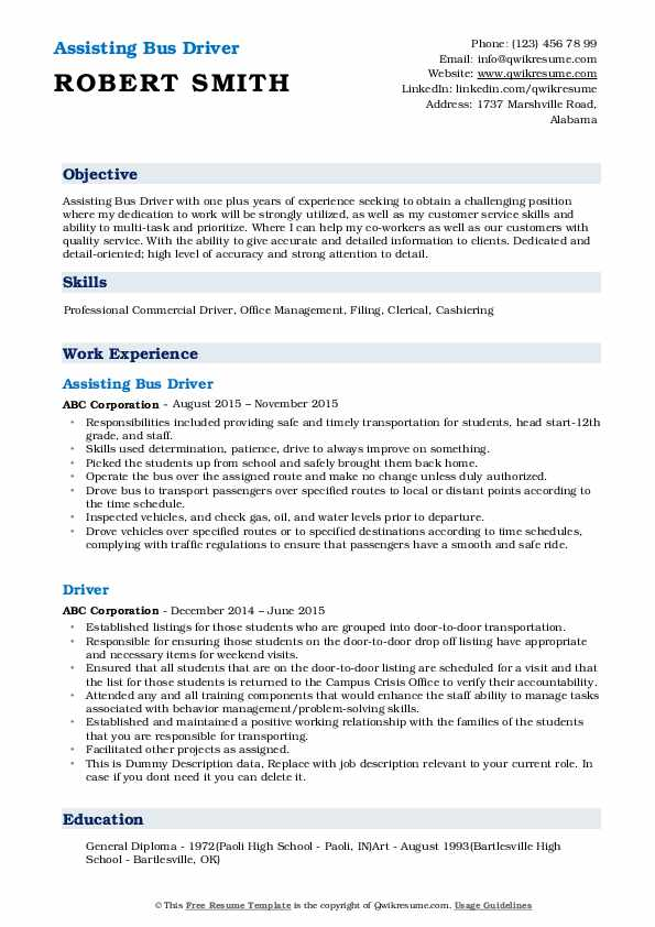 Assisting Bus Driver Resume1