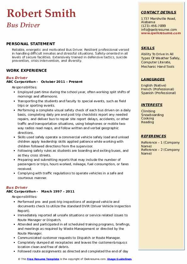 Bus Driver Resume .Docx (Word)