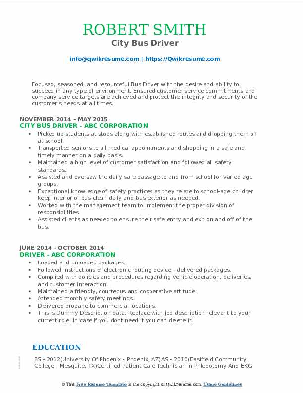 City Bus Driver Resume .Docx (Word)