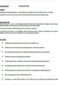 Delivery Driver Job Description in Word >Delivery Driver Job Description in Word .Docx (Word)