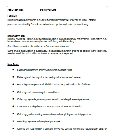 Delivery Driver Job Description in Word