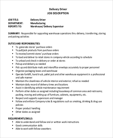Basic Delivery Driver Job Description .Docx (Word)