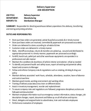 Free Delivery Driver Supervisor Job Description .Docx (Word)