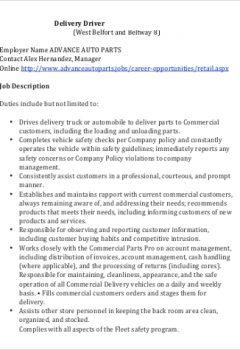 Standard Delivery Parts Driver Job Description .Docx (Word)