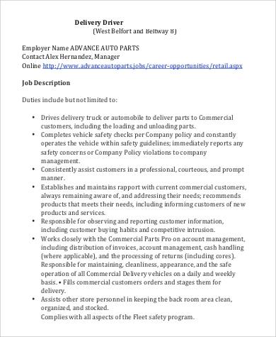 Standard Delivery Parts Driver Job Description
