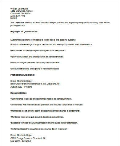Diesel Mechanic Helper Resume
