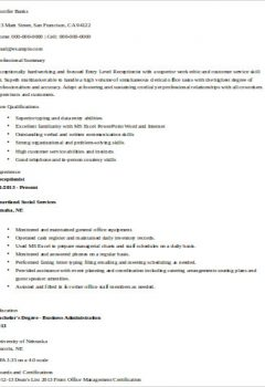 Entry Level Receptionist Resume .Docx (Word)