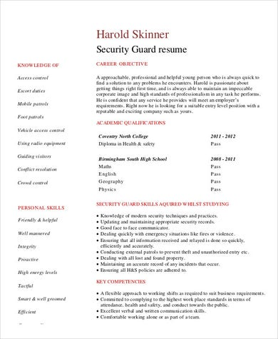 Entry Level Security Guard .Docx (Word)