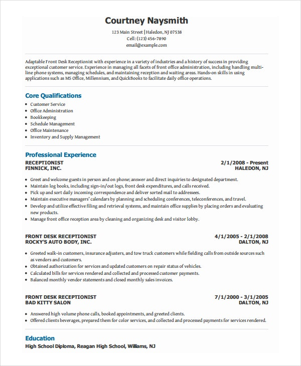 Front Office Receptionist Resume .Docx (Word)