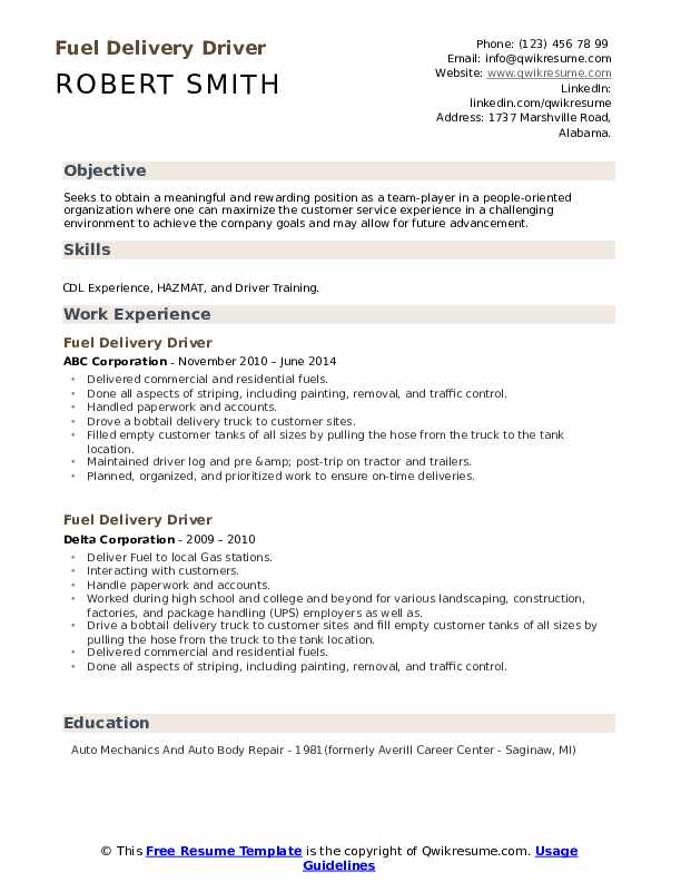 Fuel Delivery Driver Resume