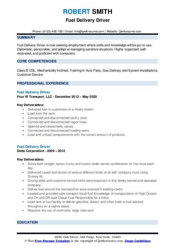 Fuel Delivery Driver Resume1