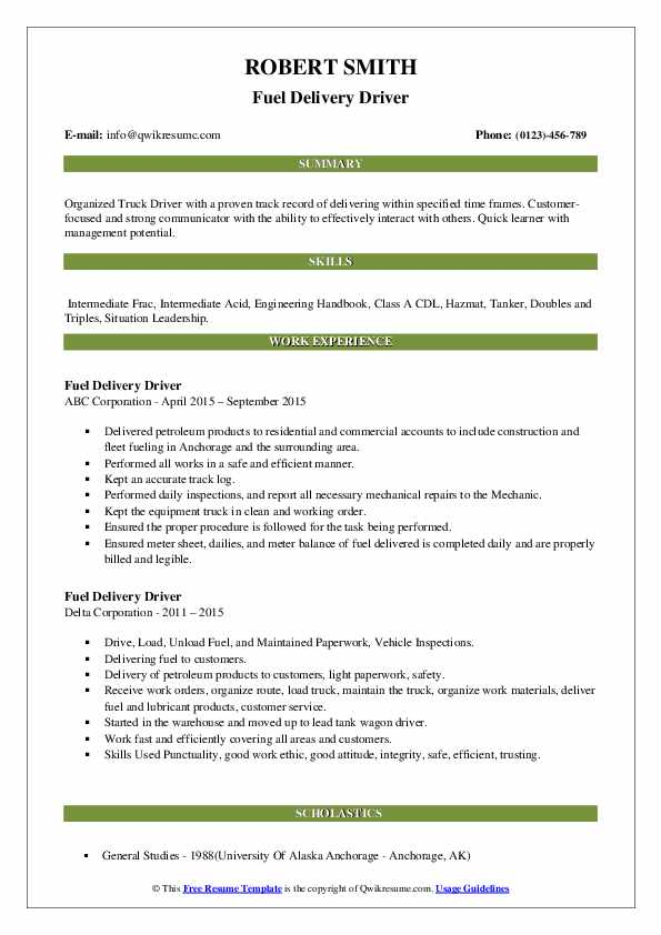 Fuel Delivery Driver Resume .Docx (Word)
