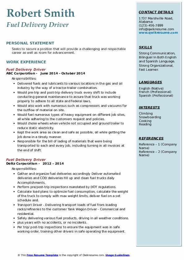 Fuel Delivery Driver Resume4