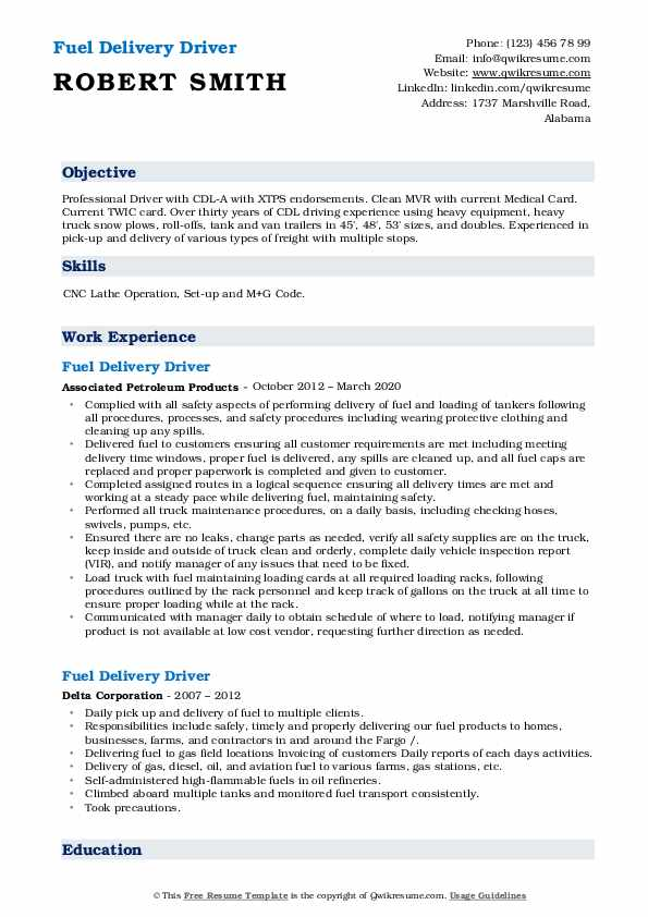 Fuel Delivery Driver Resume5