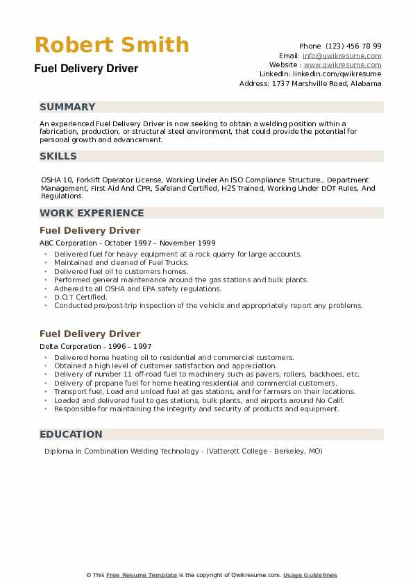 Fuel Delivery Driver Resume9