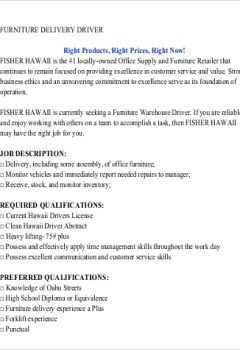 Free Furniture Delivery Driver Job Description > Free Furniture Delivery Driver Job Description .Docx (Word)