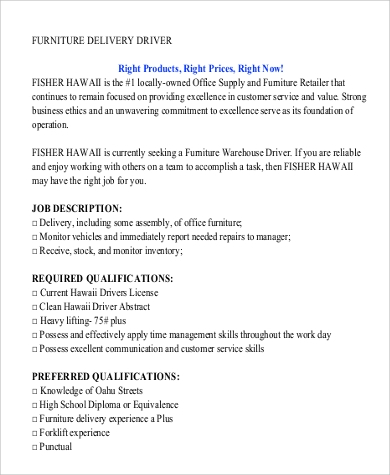 Free Furniture Delivery Driver Job Description .Docx (Word)