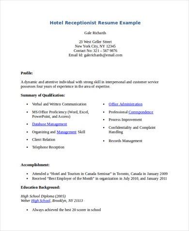 Hotel Receptionist Resume .Docx (Word)