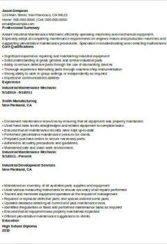 Industrial Maintenance Mechanic Resume Example