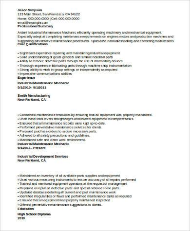 Industrial Maintenance Mechanic Resume Example .Docx (Word)