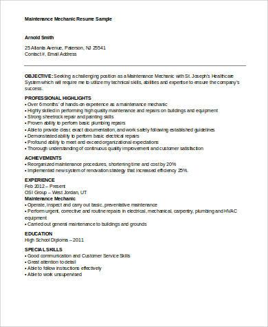 Maintenance Mechanic Resume Sample .Docx (Word)