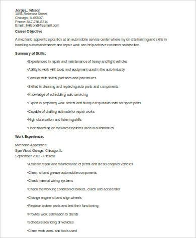 Mechanic Apprentice Resume .Docx (Word)