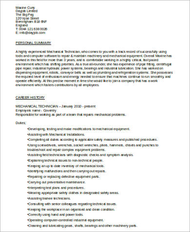 Mechanical Technician Resume .Docx (Word)