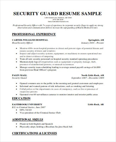 Standard Security Guard Resume .Docx (Word)