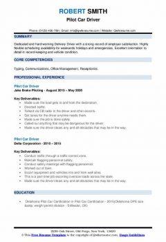 Pilot Car Driver Resume .Docx (Word)