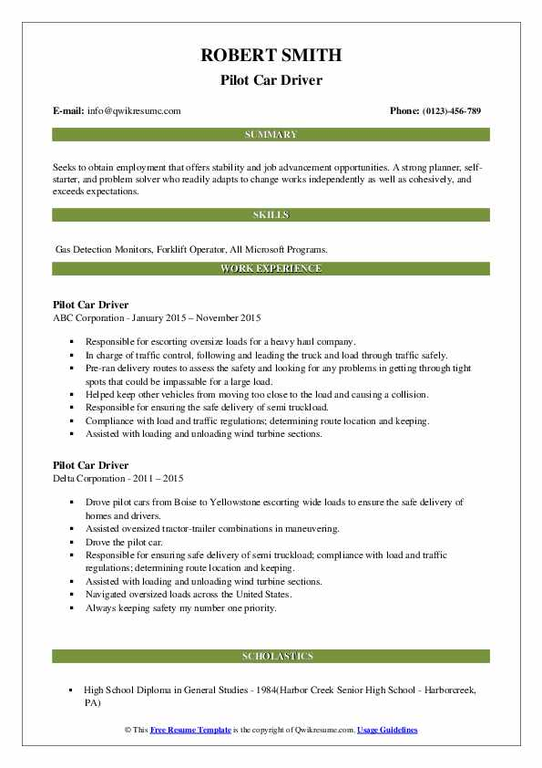 Pilot Car Driver Resume2