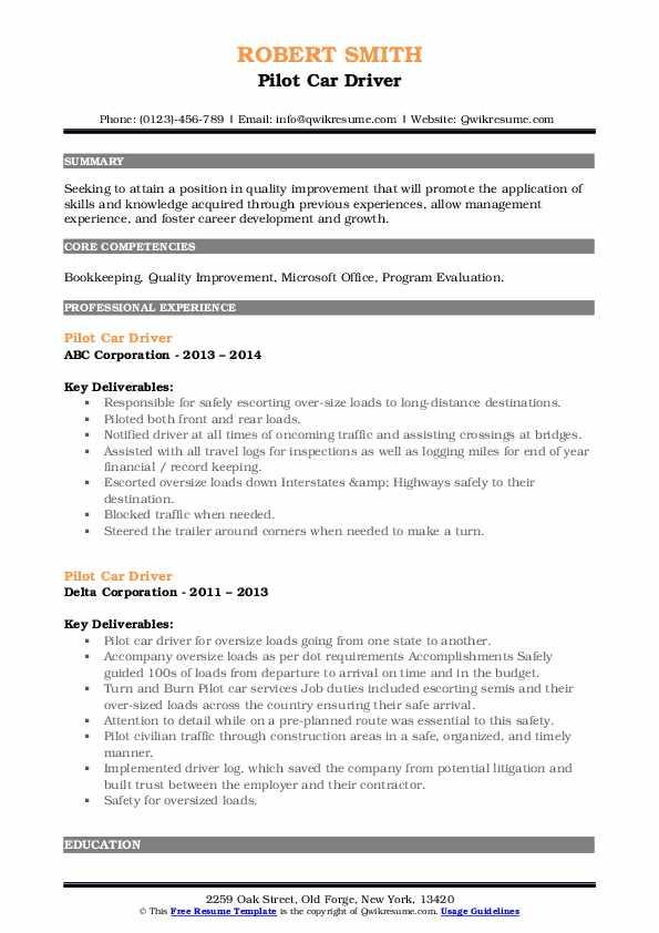 Pilot Car Driver Resume8