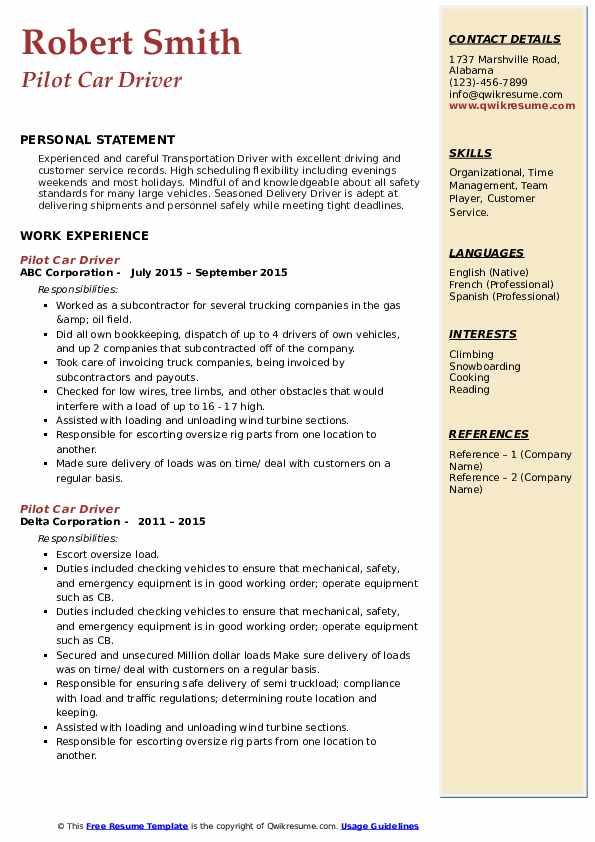 Pilot Car Driver Resume9