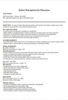 Salon Receptionist Resume .Docx (Word)
