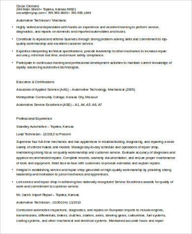 Sample Auto Mechanic Resume