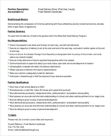 Sample of Food Delivery Driver Job Description .Docx (Word)