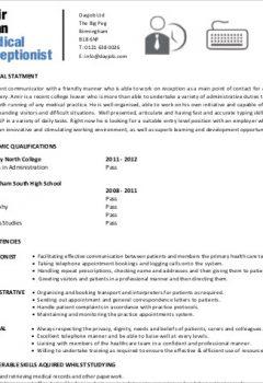 Sample Medical Receptionist Resume .Docx (Word)