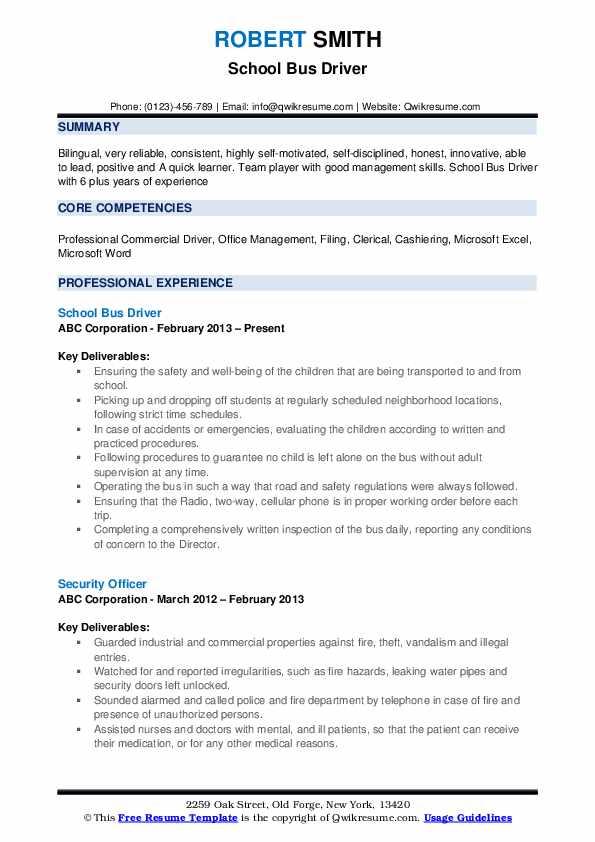 School Bus Driver Resume .Docx (Word)