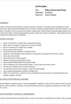 Stock Delivery Driver Job Description in PDF > Stock Delivery Driver Job Description in PDF .Docx (Word)