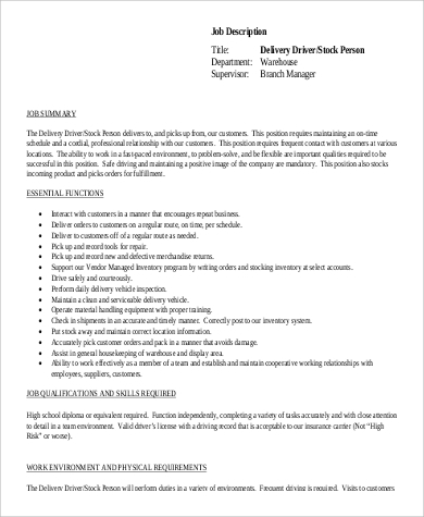 Stock Delivery Driver Job Description in PDF .Docx (Word)