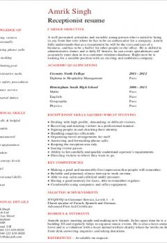 Student Receptionist Resume Format .Docx (Word)