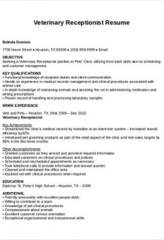 Veterinary Receptionist Resume .Docx (Word)