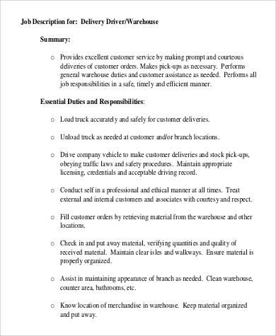 Warehouse Delivery Driver Job Description .Docx (Word)