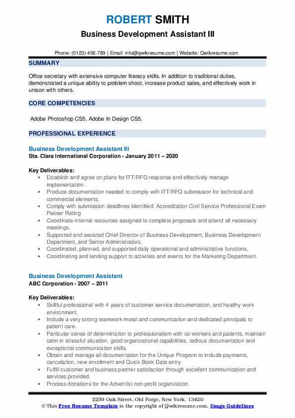 Business Development Assistant III Resume