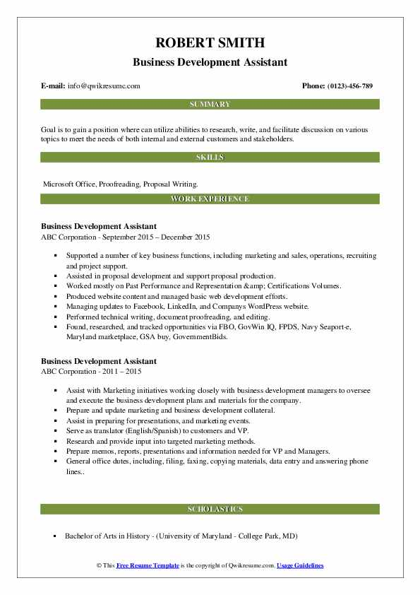 Business Development Assistant Resume1 .Docx (Word)