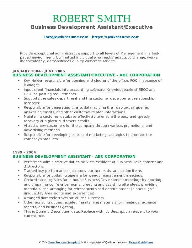 Business Development Assistant/Executive Resume