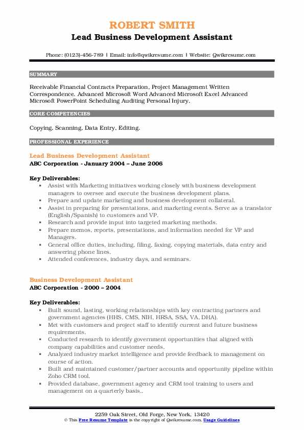 Lead Business Development Assistant Resume .Docx (Word)