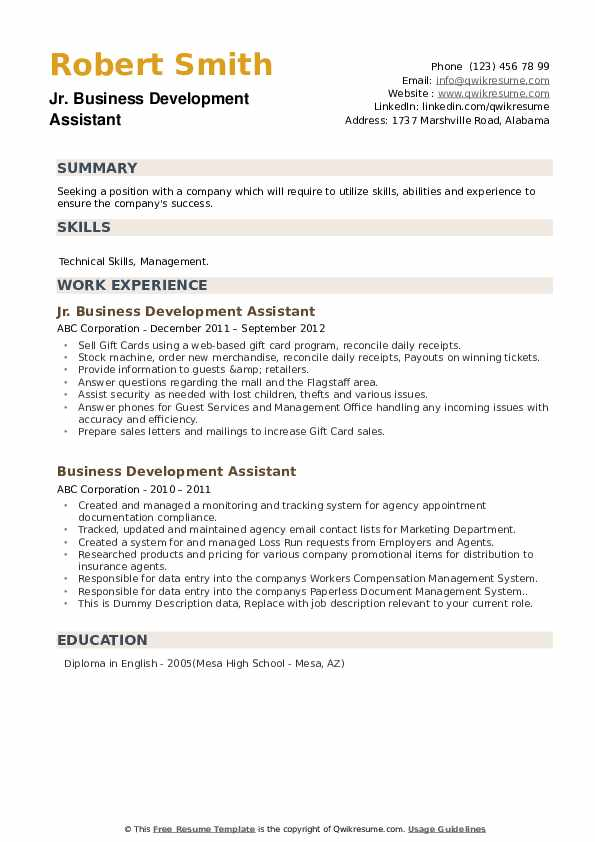 Jr. Business Development Assistant Resume .Docx (Word)