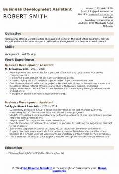 Business Development Assistant Resume .Docx (Word)