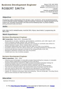 Business Development Engineer Resume > Business Development Engineer Resume .Docx (Word)